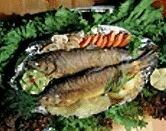 Печеная рыба с кореньями